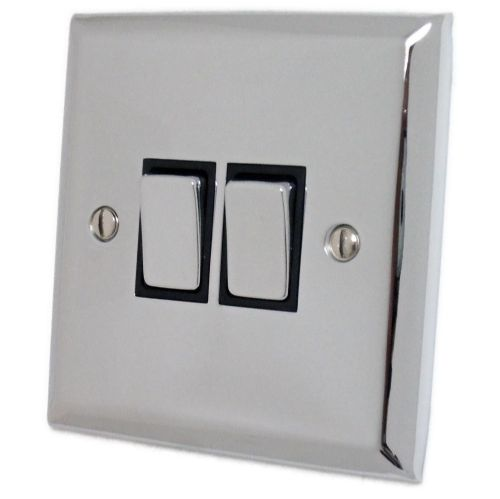 G&H SC302 Spectrum Plate Polished Chrome 2 Gang 1 or 2 Way Rocker Light Switch